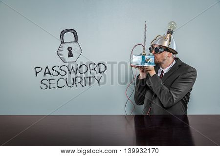 Password security text with vintage businessman kissing machine