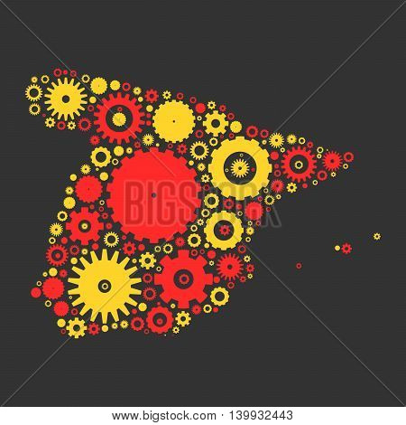 Spain map silhouette mosaic of cogs and gears. Illustration in national colors on dark grey background.