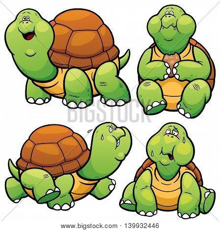 Vector illustration of Cartoon Turtle Character Set
