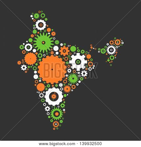 India map silhouette mosaic of cogs and gears. Illustration in national colors on dark grey background.