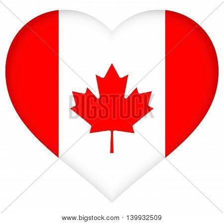 Illustration of the Canadian Flag in a heart shape