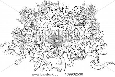 Close-up view of bunch of flowers with ribbons. Coloring page.