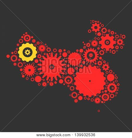 China map silhouette mosaic of cogs and gears. Illustration in national colors on dark grey background.