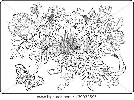 Close-up view of bunch of flowers and a butterfly. Coloring page.