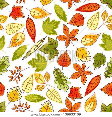 Autumn leaves seamless pattern background. Brush painted september school time wallpaper illustration. Tablecloth print design. Foliage elements of oak, maple, birch, aspen, chestnut, elm, poplar