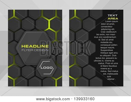 Flyer design A4 size cover brochure template or corporate banner. Vector illustration with hexagonal structure and place for your headline.