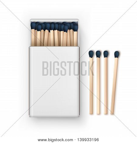 Vector Opened Blank Box Of Blue Matches Top View Isolated on White Background