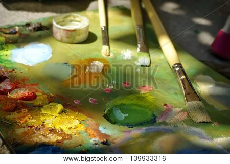 Artist Brush Mix Color Oil Painting On Palette