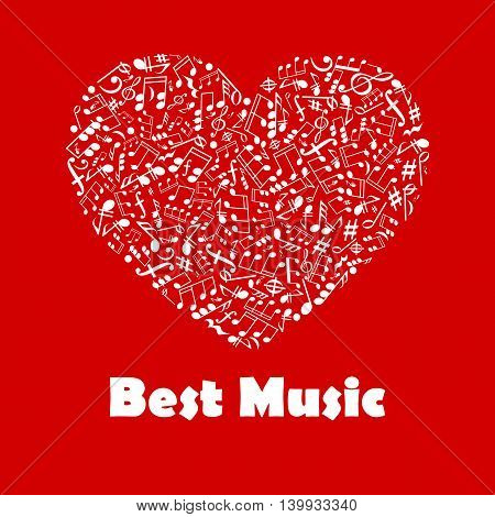 Best Music poster. Musical notes elements in heart shape. Creative graphic illustration for banner, flyer, emblem, icon, radio, festival, concert, opera, advertising web design