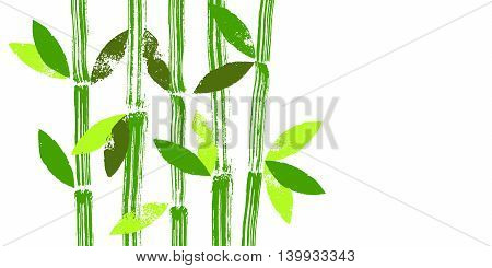 Hand painted green bamboo stems and leaves vector background