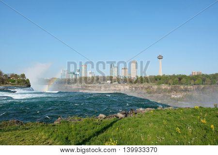 Niagara Falls with rainbow, New York, USA