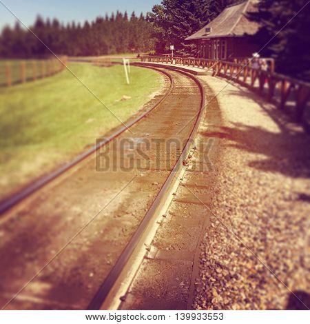 Railway line in Alberta - Instagram with select focus