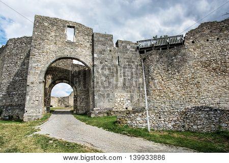Ruins of Hainburg an der Donau Austria. Ancient architecture. Gateway to the castle. Travel destination. Beautiful place. Cultural heritage.