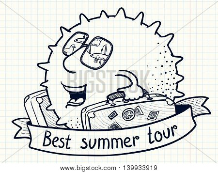 Cute doodle sun character with luggage for best summer tour