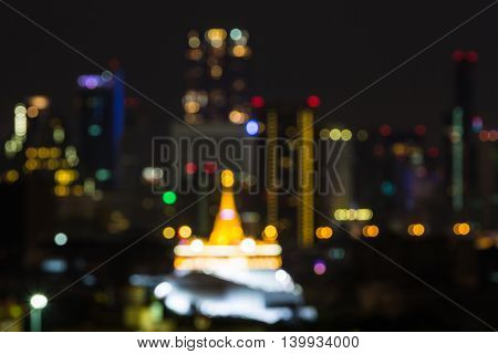 Blurred Golden Mount At Night
