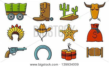 Vector line art minimalistic thin and simple retro cowboy and western icons set. Collections with Hats Indians and cowboys cactus sheriff star vintage pistol dynamite bull horseshoe and chaise