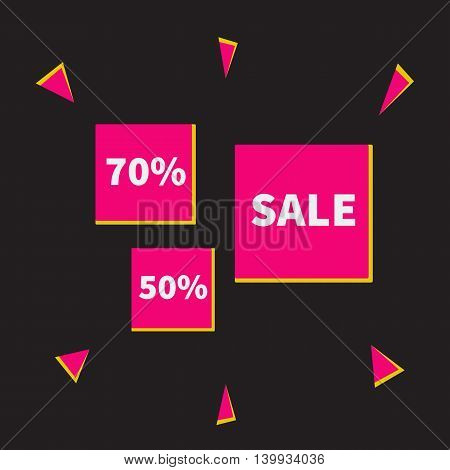 Sale , 50, 70 percent discount banners, pink and yellow vector illustration