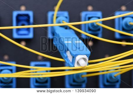 Fiber network yellow optical network cables with SC connectors