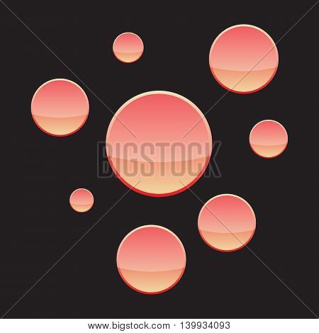Set of yellow and red buttons on black background. Vector illustration
