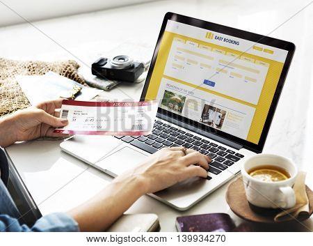 Plane Ticket Online Flight Booking Computer Concept