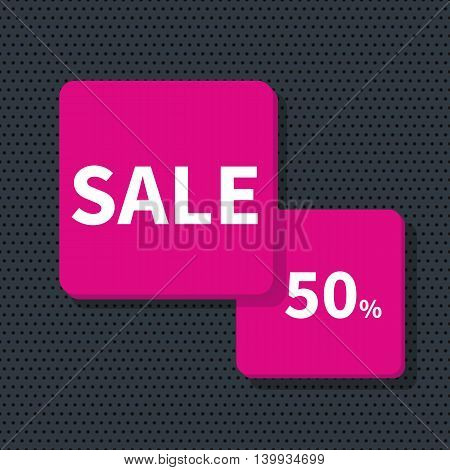 Stock Vector Illustration. Sale banner - discount 50 off.