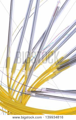 Closeup of fiber optical connections in white background