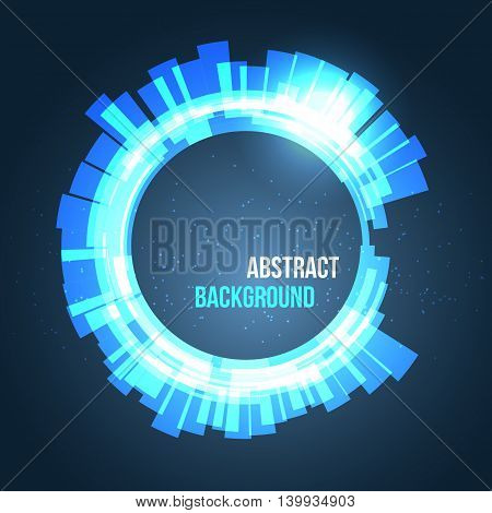Abstract space background circles blue with lights. Vector illustration for your business presentations.