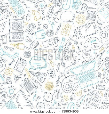 Seamless Doodles Pattern Of Work Place.