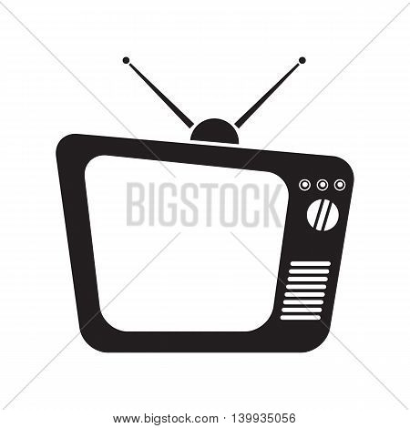 Old TV icon with antennas, vector illustration