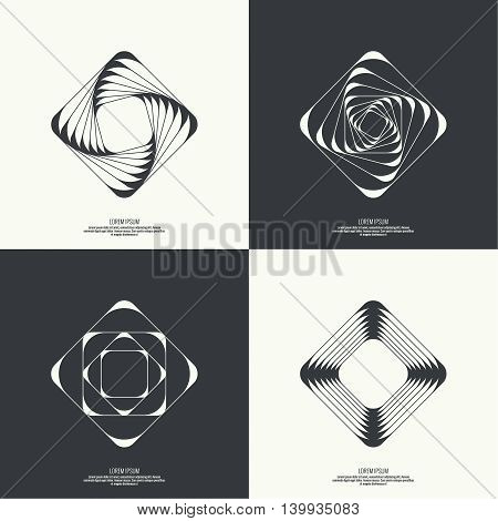Set Abstract background with intersecting geometric shapes. Square, rectangle geometry. Badge, monogram, banner. Black and White. shutter