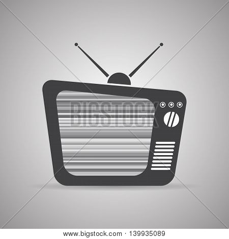 Old TV icon with antennas and interference, vector illustration