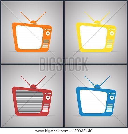 Old TV Sets with antennas. Yellow, red, orange and blue colors, vector illustration