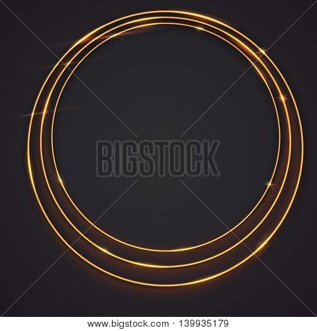 Sparkling golden glow rings, frame with light effect on dark background. Spark with ring glossy line, abstract vector composition. Great backdrop for the presentation, cover book or invitation cards