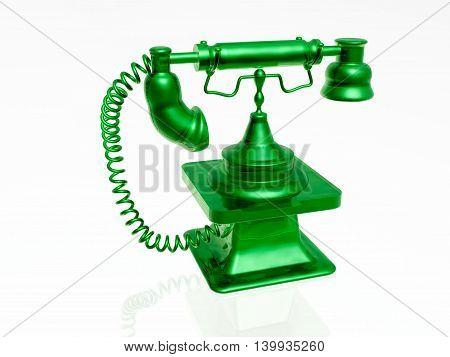 Green retro phone on white background, 3D illustration.