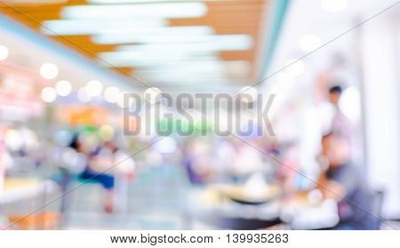 Food Court Blurred Background With Bokeh,defocused Lights