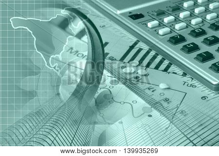 Financial background in greens with map calculator graph and buildings.