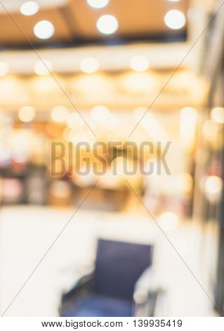 Blurred Background,customer Waiting In Front Of Restaurant Blur Background With Bokeh Light