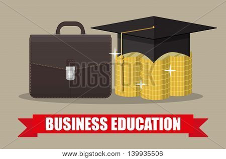 business briefcase, graduation cap, gold coins stacks. business graduation concept. vector illustration in flat style on brown background