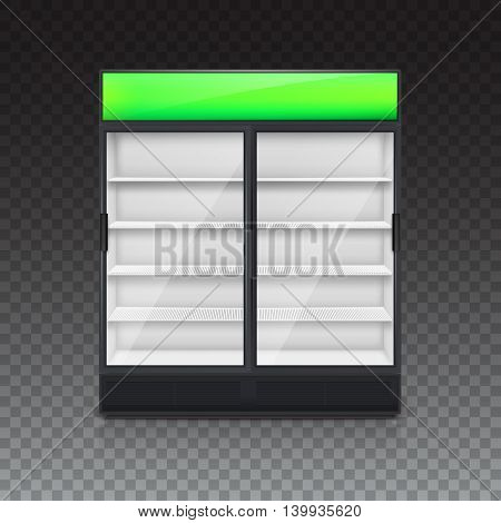 Fridge for drink with glass door and green lightbox, on a transparent background. Mock-up or template for your design and advertising message