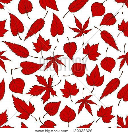 Red falling leaves seamless pattern background. Autumn foliage wallpaper illustration. Print design with vector elements of maple, birch, aspen, elm, poplar