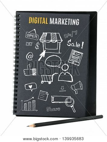 Notebook on desk with icon relate with Digital Marketing Business concept.
