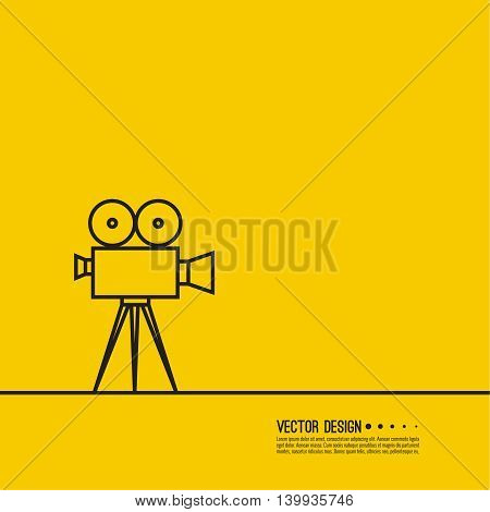 Movie projector vector illustration.  Cinematic camera. Linear icon. Line art