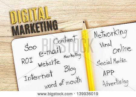Open Notebook On Wooden Desk With Word Relate With Digital Marketing, Business Concept