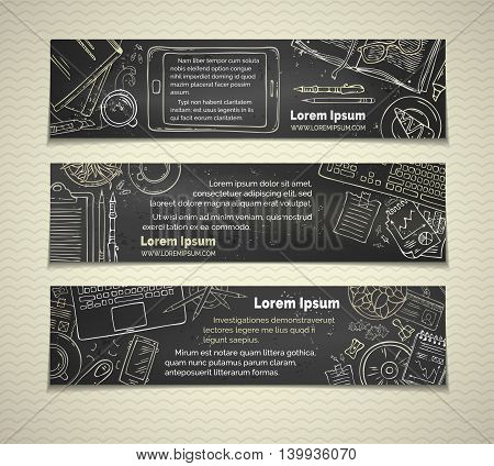 Vector Set Of Chalk Office Workplace Horizontal Banners.