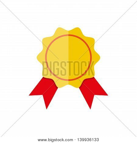 Yellow bank stamp with red ribbons and copy space for your own text . vector illustration in flat style on white background