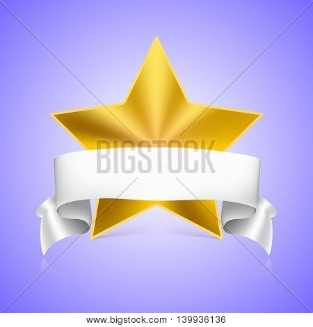 Metal yellow star label with white ribbon on colored background, vector illustration