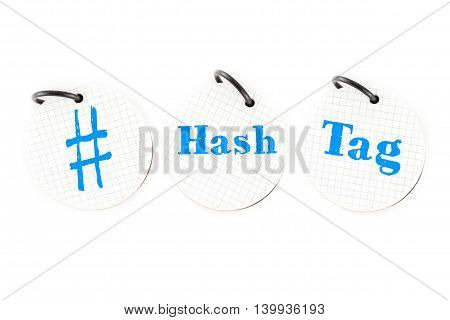 Hand Writing # Hashtag Word On Circle Paper Note Pad On White Background, Social Media Trend Concept