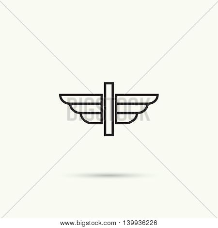 Elegant dynamic alphabet letters with wings. Monogram wing logo mockup. Creative design element. Corporate branding identity. Vector template. Letter i
