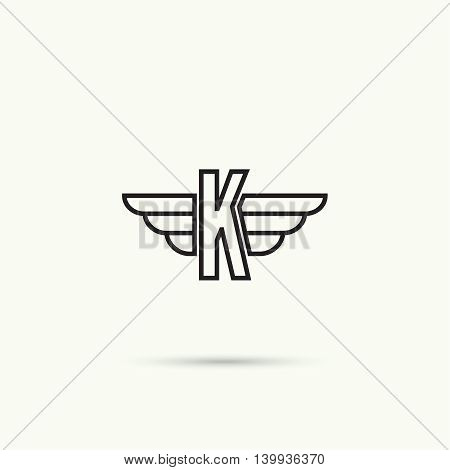 Elegant dynamic alphabet letters with wings. Monogram wing logo mockup. Creative design element. Corporate branding identity. Vector template. Letter k
