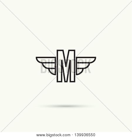Elegant dynamic alphabet letters with wings. Monogram wing logo mockup. Creative design element. Corporate branding identity. Vector template. Letter m